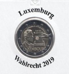 Luxemburg 2 € 2019, Wahlrecht, bankfrisch aus der Rolle