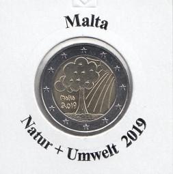 Malta 2 € 2019 Natur + Umwelt , bankfrisch aus der Rolle
