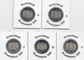 Deutschland 2 € 2020, Brandenburg ( Bundesländer Serie ), bankfrisch, A,D,F,G,J,