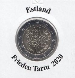 Estland 2 € 2020, Frieden Tartu, bankfrisch