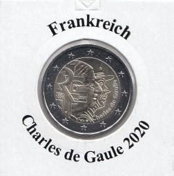 Frankreich 2 € 2020, Charles de Gaule, bankfrisch