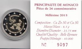 Monaco 2 € 2013, polierte Platte, 20 Jahre UNO, im original Etui, Umkarton + Zertifikat
