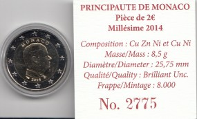 Monaco 2 € 2014 , Fürst Albert Kursmünze, incl. Etui, Umkarton + Zertifikat