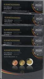 Deutschland Kursmünzsatz 2020 polierte Platte ( Spiegelglanz ) kpl. A, D, F, G, J