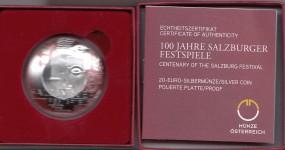 Österreich 20 € 2020, 100 Jahre Salzburger Festspiele, Silber, PP