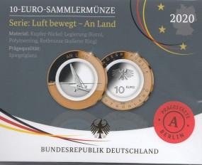 Deutschland 10 € 2020 An Land Polymer, Satz kpl. A,D,F,G,J, polierte Platte