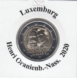Luxemburg 2 € 2020, Henri Oranienburg-Nassau , bankfrisch