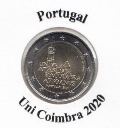 Portugal 2 € 2020, Coimbra, bankfrisch aus der Rolle