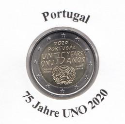 Portugal 2 € 2020, 75 Jahre UNO, bankfrisch aus der Rolle