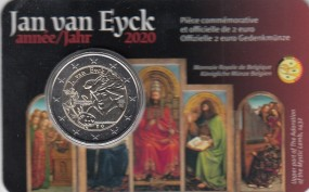 Belgien 2 € 2020, Jan van Eyck im Blister, wallonische Schrift