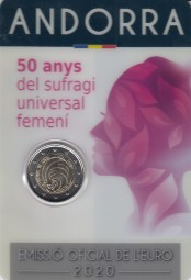 Andorra 2 € 2020 Frauenwahlrecht im Blister