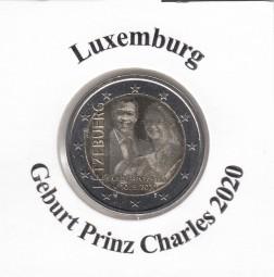 Luxemburg 2 € 2020, Geburt Prinz Charles, bankfrisch Fotoprägung