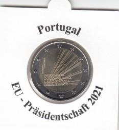 Portugal 2 € 2021, EU-Präsidentschaft, bankfrisch aus der Rolle