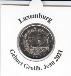 Luxemburg 2 € 2021, Geburtstag Jean , bankfrisch , Reliefprägung