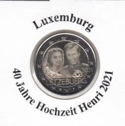 Luxemburg 2 € 2021, 40 J. Hochzeit Henri Fotoprägung, bankfrisch