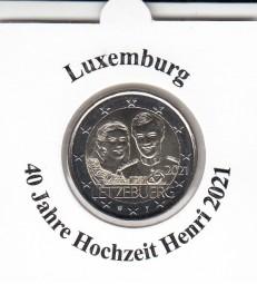 Luxemburg 2 € 2021, 40 J. Hochzeit Henri, Reliefprägung, bankfrisch