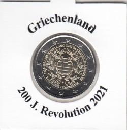 Griechenland 2 € 2021, 200 Jahre Revolution, bankfrisch aus Rolle
