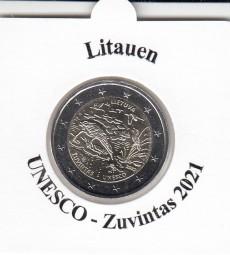 Litauen 2 € 2021 Unesco Zuvintas, bankfrisch aus der Rolle