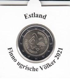 Estland 2 € 2021 Finno ugrische Völker , bankfrisch aus der Rolle