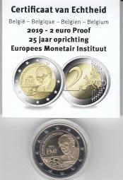 Belgien 2 € 2019, Währungsinstitut, PP mit Etui + Zertifikat