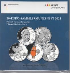 Deutschland 20 € 2021 Set PP , Fussball, Frau Holle, Maus, Scholl, Kneipp