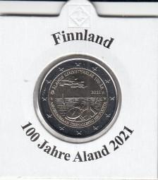 Finnland 2 € 2021, 100 Jahre Alandinseln , bankfrisch aus der Rolle