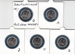 Deutschland 10 Euro 2021, Auf dem Wasser Polymer, bankfrisch Satz kpl.