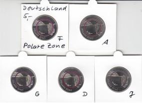 Deutschland 5 Euro Polymer, Satz A,D,F,G,J, 2021 bankfrisch aus der Rolle, Polare Zone