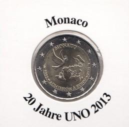 Monaco 2 € 2013, 20 Jahre UNO