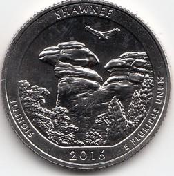 USA Nationalpark Quarter 2016 Schawnee / Illinois, Buchstabe P, banbkfrisch aus der Rolle