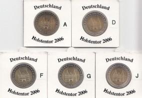 Deutschland 2 € 2006 A,D,F,G,J, Holstentor Lübeck