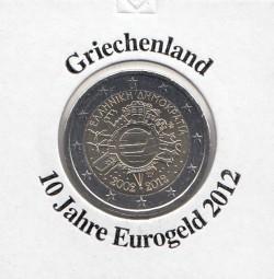 Griechenland 2 € 2012, 10 Jahre Eurobargeld,