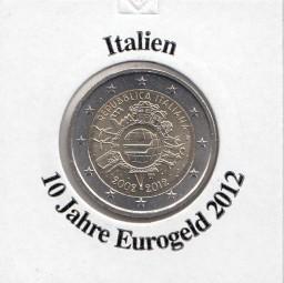 Italien 2 € 2012, 10 Jahre Eurobargeld,