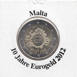 Malta 2 € 2012, 10 Jahre Eurobargeld,