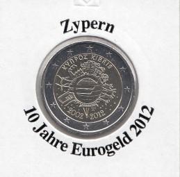 Zypern 2 € 2012, 10 Jahre Eurobargeld,