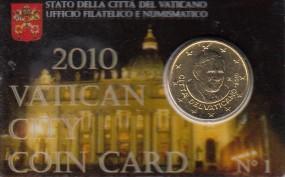 Vatikan 50 Cent Benedikt 2010 in Coincard Nr. 1 / 2010