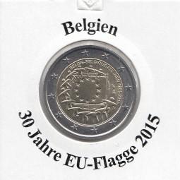 Belgien 2 € 2015 , 30 Jahre EU - Flagge, bankfrisch aus der Rolle