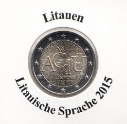 Litauen 2 € 2015, Lit. Sprache, bankfrisch aus der Rolle