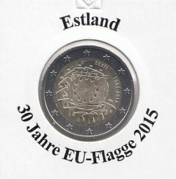 Estland 2 € 2015 30 Jahre EU - Flagge, bankfrisch aus der Rolle