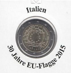 Italien 2 € 2015, 30 Jahre EU - Flagge, bankfrisch aus der Rolle