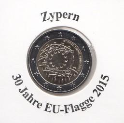 Zypern 2 € 2015, 30 Jahre EU - Flagge, bankfrisch aus der Rolle