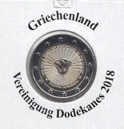 Griechenland 2 € 2018, Dodekanes, bankfrisch aus der Rolle