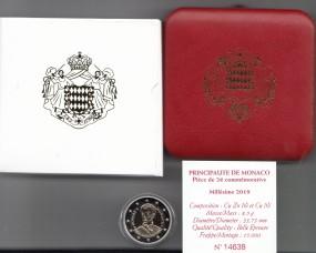 Monaco 2 € 2019, Honore, polierte Platte incl. Etui+Zertifikat