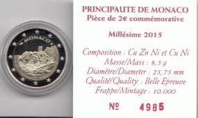 Monaco 2 € 2015, Forteresse, PP, im original Etui, Zertifikat u. Umkarton