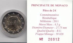 Monaco 2 € 2011, Hochzeit Albert , incl. Etui, Umkarton + Zertifikat