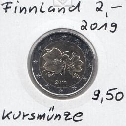 Finnland 2 € 2019 Kursmünze, bankfrisch aus der Rolle