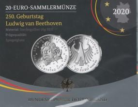 Deutschland 20 € 2020, Beethoven, polierte Platte