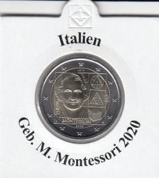 Italien 2 € 2020, Montessori, bankfrisch aus der Rolle