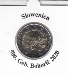 Slowenien 2 € 2020, Bohoric`, bankfrisch aus der Rolle