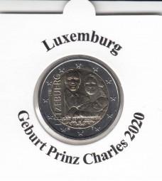 Luxemburg 2 € 2020, Geburt Prinz Charles, Reliefprägung, bankfrisch